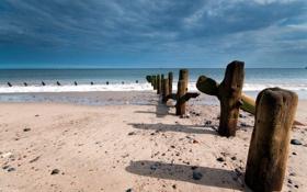 Картинка море, пейзаж, берег, опоры