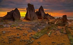 Картинка море, небо, пейзаж, ночь, скалы, берег