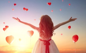 Картинка любовь, закат, сердце, девочка, love, heart, romantic