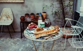 Обои fruit, milk, table, plants, cups, chairs, breads