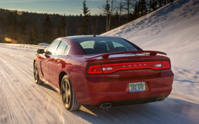 Картинка car, Dodge, road, Charger, snow, speed, Sport