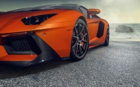 Обои Supercar, Aventador-V, Zaragoza, Orange, Sea, Vorsteiner, Lamborghini
