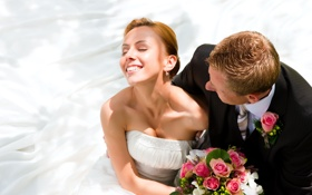 Картинка цветы, смех, букет, невеста, свадьба, жених