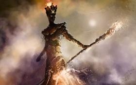 Картинка девушка, трещины, камни, огонь, магия, дым, арт