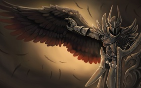 Обои shield, helmet, wing, black knight