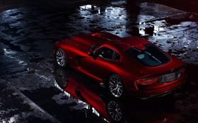 Обои красный, отражение, Додж, лужи, Dodge, суперкар, Viper