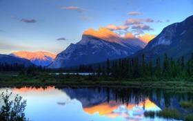 Картинка лес, горы, озеро, рассвет, ёлки