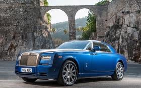 Картинка небо, синий, фон, замок, скалы, купе, Rolls-Royce