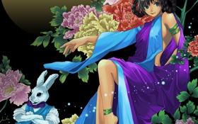Картинка кролик, заяц, арт, девушка, пионы, цветы