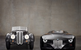 Обои bmw, old, new, 328, concept car, hommage