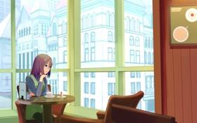 Обои уют, окно, девочка, ресторан, пирожное, столик, Paint