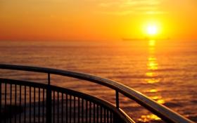 Картинка море, небо, вода, солнце, свет, закат, блеск
