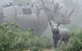 Обои животные, птицы, природа, металл, робот, арт, носорог