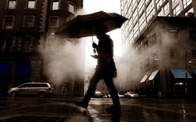Обои машины, зонтик, настроение, улица, здания, телефон, парень