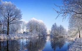 Картинка зима, небо, вода, облака, снег, деревья, отражение