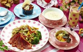 Картинка суп, коктейль, мясо, овощи, десерт, салат, блюда