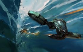 Обои корабли, арт, ущелье, самолёты