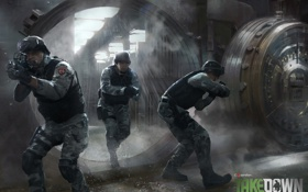 Обои полиция, солдаты, swat, хранилище, Takedown