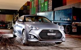 Картинка авто, фары, капот, Hyundai, передок, Turbo, Veloster