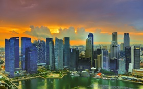 Обои солнце, облака, закат, небоскребы, Сингапур
