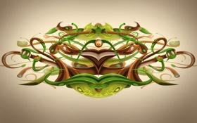 Обои сплетение, desktopography, зелень, трубки, клубок