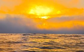 Картинка небо, солнце, тучи, океан