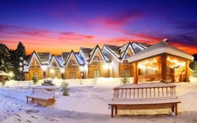 Картинка зима, небо, снег, пейзаж, природа, огни, дом