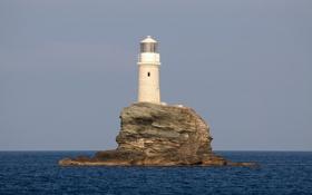Обои маяк, Греция, Greece, Эгейское море, Tourlitis Lighthouse, остров Андрос, Andros Island