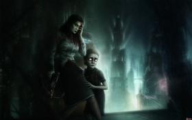Картинка девушка, город, кровь, арт, девочка, Bioshock, арбалет