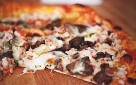 Картинка грибы, сыр, пицца, тесто
