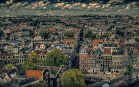 Картинка облака, небо, столица, Нидерланды, Амстердам, панорама, дома