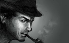 Обои трубка, шляпа, профиль, мужчина, Шерлок Холмс, Sherlock Holmes