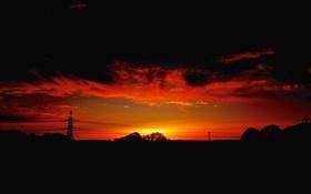 Картинка небо, деревья, закат, тучи, силуэт, опора