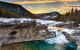 Картинка зима, лес, снег, горы, природа, река, утро