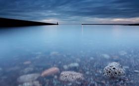 Картинка море, небо, вода, камни, Англия, минимализм, выдержка
