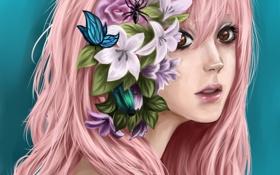 Обои девушка, цветы, жук, арт, розовые волосы