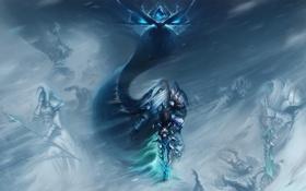 Обои снег, оружие, ветер, арт, wow, персонажи, world of warcraft