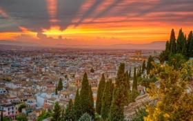 Обои небо, лучи, город, испания