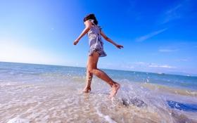 Обои девушка, настроение, море, лето