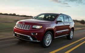 Обои красный, Джип, передок, Jeep, Grand Cherokee, Гранд Чероке, Summit
