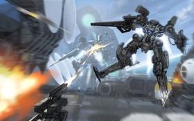 Обои атака, роботы, база, mech