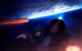 Обои irruption, планеты, кометы