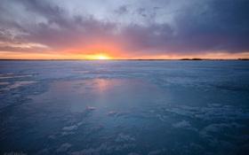 Картинка закат, лёд, Jeff Wallace
