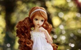 Обои кукла, локоны, рыжая, игрушка, боке