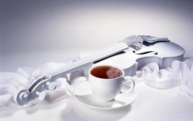 Картинка белое, скрипка, чашка