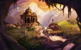 Картинка трава, снег, закат, горы, камни, дерево, водопад