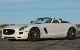 Обои car, Roadster, Mercedes-Benz, white, AMG, SLS, wallpapers
