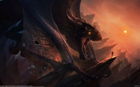 Картинка девушка, дракон, Bastien Grivet