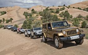 Обои фон, холмы, Джип, внедорожники, модельный ряд, Jeep