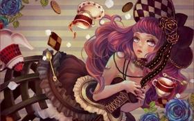 Картинка девушка, полосы, чай, розы, печенье, арт, сахар